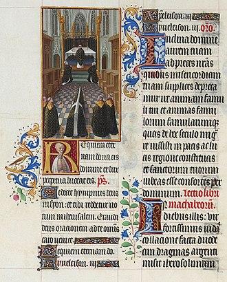 Catholic funeral - A Funeral Service (Les Très Riches Heures du duc de Berry, Folio 199v. Musée Condé, Chantilly.