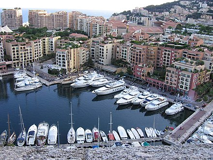 The whole district of Fontvieille, Monaco was reclaimed from the sea Fontvieille harbour.JPG