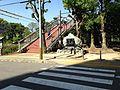 Footbridge and stele on west side of Tokushima Central Park.JPG