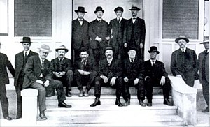 Alex Laing (rugby) - A photograph taken in 1912 entitled Founders of Buffalo. Alex Laing is fourth from the left on the bottom row
