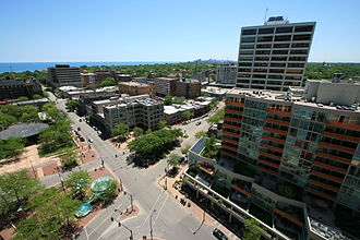 Evanston, Illinois - View of downtown, at Sherman Avenue and Davis Street, looking south/south-east toward Chicago.