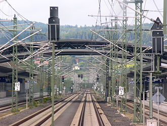 Montabaur station - Perspective from the cab of an ICE running north through the station without stopping (2005)