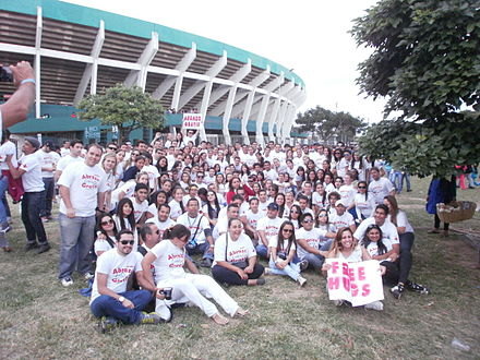 "Medical students celebrating ""Free Hugs Day"" in Bolivia in 2013 Free hug day in Santa Cruz, Bolivia.JPG"