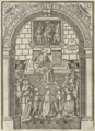 Frei Brás de Braga lendo as constituições que reformou (Liuro das constituiçoens e costumes q se guardã em os moesteyros da cõgregacam de sancta Cruz de Coibra, 1558).png