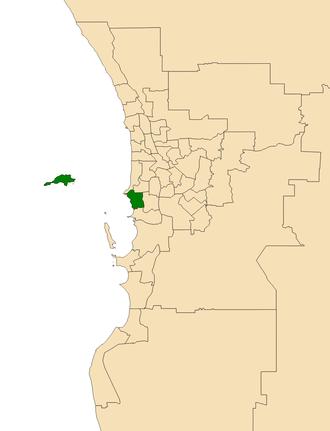 Electoral district of Fremantle - Location of Fremantle (dark green) in the Perth metropolitan area