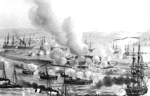 Battle of Kinburn (1855) - Illustration of the ironclad batteries bombarding Kinburn