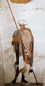 Fresco of a Macedonian soldier, from the Tomb of Agios Athanasios, 4th century BC.jpg