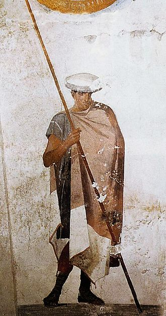 Macedonian phalanx - Fresco of an ancient Macedonian soldier wielding a spear and wearing a cap, from the tomb of Agios Athanasios, Thessaloniki, Greece.