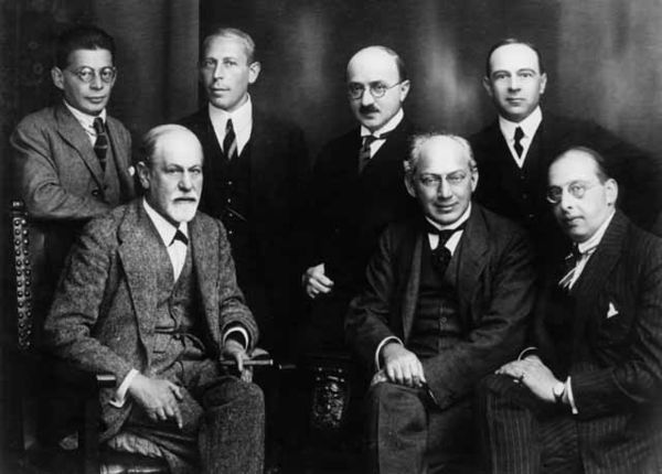 The Committee in 1922 (from left to right): Otto Rank, Sigmund Freud, Karl Abraham, Max Eitingon, Sandor Ferenczi, Ernest Jones, and Hanns Sachs Freud and other psychoanalysts 1922.jpg
