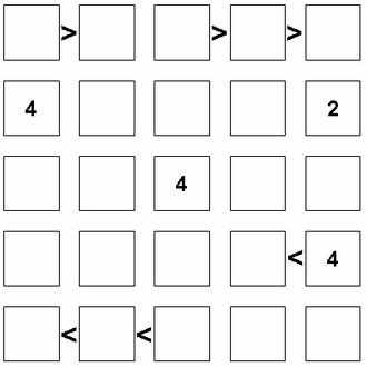 Futoshiki - An example of a 5x5 Futoshiki puzzle ...