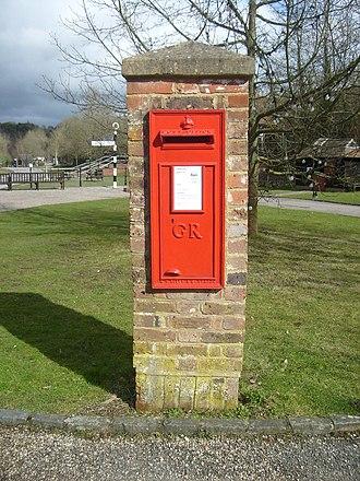 Wall box - A British Wall box set into a brick pillar, at the Amberley Working Museum.