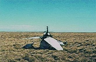Battle of Goose Green - Remains of Harrier XZ998, shot down over Goose Green on 27 May 1982.