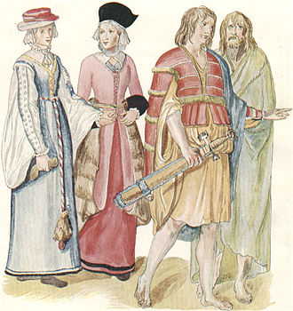Desmond Rebellions - Clothing of Irish women and men. c. 1575.