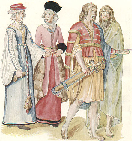 Clothing of Irish women and men. c. 1575. Gaelic clothing Ireland.jpg