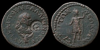 Coinage of Side - A bronze 11 assaria of Gallienus struck in Side 253-268 AD overstriked to pentassarion. Obverse; Laureate bust of Gallienus right over eagle, Reverse; Apollo Sidetes, holding phiale and scepter.