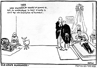 History of the British Raj - A cartoon from 1932 depicting Viscount Willingdon on a hunger strike against Gandhi