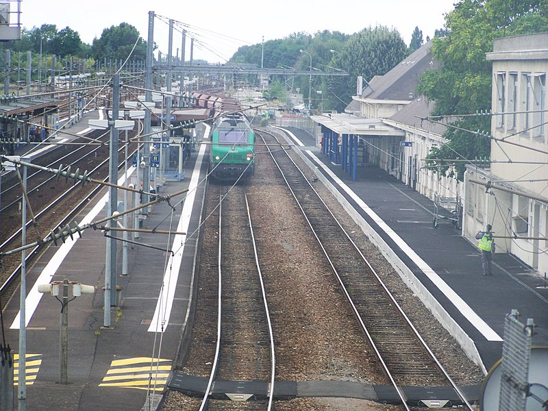 Platforms and tracks of city of Saumur railway station, in Maine-et-Loire, France.