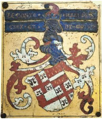 Garter stall plate - Garter stall plate of Henry Bourchier, 2nd Earl of Essex (d.1540), nominated 1499, showing his name, titles and heraldic achievement