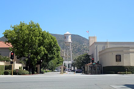 Gate 4, Warner Bros. Studios, looking south towards the water tower