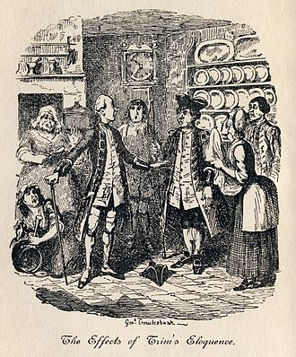 "Eloquence - ""The Effects of Trim's Eloquence"". George Cruikshank's illustration to Laurence Sterne's The Life and Opinions of Tristram Shandy, Gentleman"