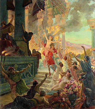 "Achaemenid destruction of Athens - Alexander the Great lifting Thais holding a torch, in ""The Burning of Persepolis"" (L'incendie de Persepolis), Georges Rochegrosse, 1890."