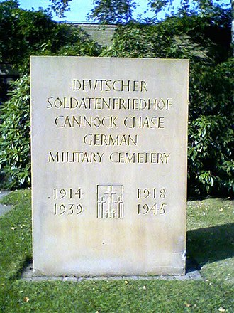 Cannock Chase German Military Cemetery - Carved plinth at cemetery entrance, 2009