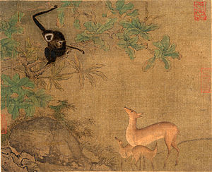 Homophonic puns in Mandarin Chinese - Gibbons and deer by unknown Southern Song Dynasty artist