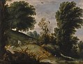 Gijsbrecht Leytens - Wooded landscape with a shepherd tending his flock on a riverbank.jpg
