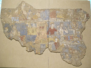 History of Tajikistan - A Sogdian wall mural from the ruins of an aristocratic home in the archaeological site of Panjakent, showing Sogdian men playing a board game, 8th century