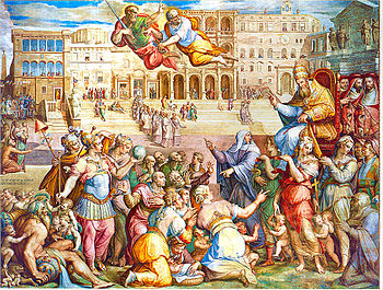 Pope Gregory XI.  is accompanied back to Rome by Saint Catherine of Siena in 1377 (fresco by Giorgio Vasari, c. 1571–1574)
