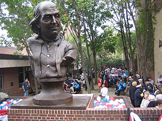 Girard Fountain Park - A luncheon in Girard Fountain Park after the Oct. 5, 2007, dedication of Keys To Community, a nine-foot bronze bust of Benjamin Franklin by sculptor James Peniston.