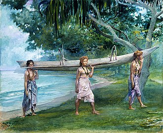 Samoans - Portrait of Samoan girls carrying a canoe