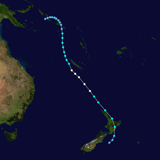TEV Wahine - Track map of Cyclone Giselle