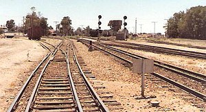Gladstone, South Australia - Gladstone Railyard March 1986 showing all three rail gauges in use on the one track bed.