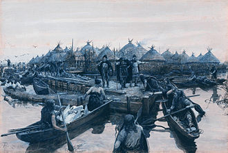 Glastonbury Lake Village - A representation of the landing stage by Amédée Forestier in 1911