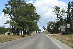 Looking north at Glen Haven on M-209