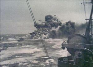 HMS Glowworm (H92) - Glowworm on fire