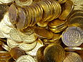 Gold chocolate coins for the holidays.JPG