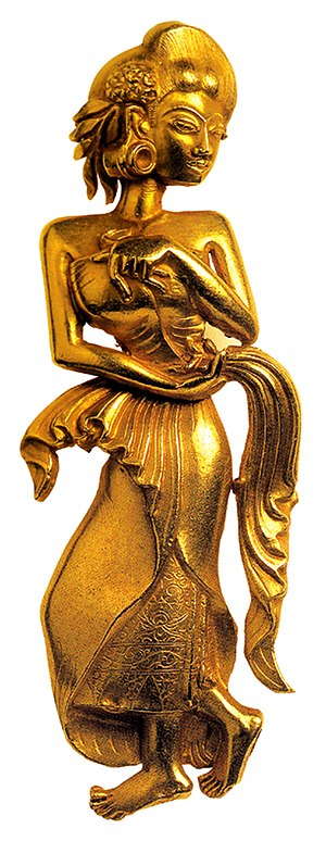 Apsara - Golden apsara in Majapahit style, Java, Indonesia.