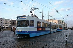 The M31 trams have been re-built with a low-floor section.