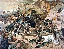 Peinture d'une scène de bataille