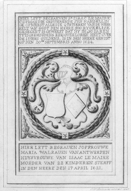 Drawing of the tombstone of Isaac le Maire and his wife Grafsteen van Isaac Le Maire en vrouw.png