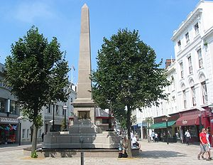 Saint Helier - In 1855 an obelisk was constructed in Broad Street to commemorate the reformer Pierre Le Sueur, five times elected Constable of St Helier. The monument was restored in 2005 and the fountains restored to working order.