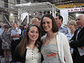 Granddaughters of Bernard C. Webber at the keel-laying of the Sentinel class cutter named after him.jpg