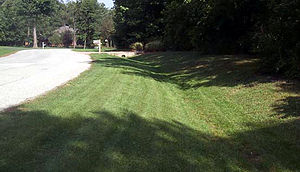 Swale (landform) - Constructed swale or bioswale built in a residential area to manage stormwater runoff.
