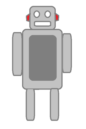 English: grey cartoon robot