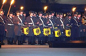 Corps of drums - Corps of drums at a tattoo (Großer Zapfenstreich) in Germany, 2002.