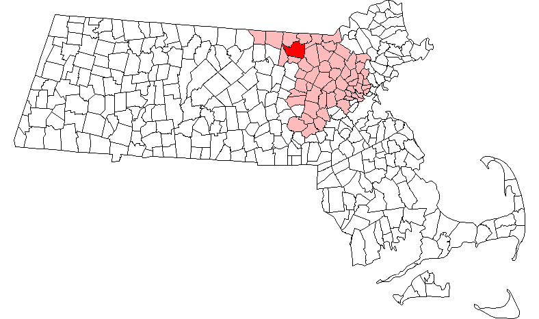 Location in Middlesex County in Massachusetts