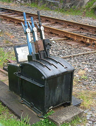 Annett's key - Groundframe, with the two rightmost levers locked by Annett's key