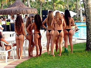 Swimsuit competition - Women at the backstage of a bikini contest.